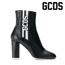 GCDS Leather Block Heels Elegant Style Ankle & Booties Boots