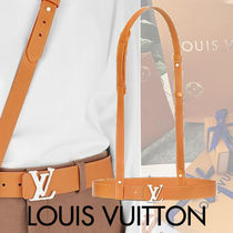 Louis Vuitton Blended Fabrics Street Style Plain Leather With Jewels Belts