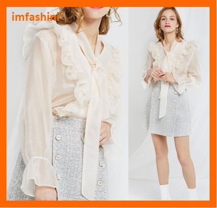 Casual Style Chiffon Plain Puff Sleeves Shirts & Blouses