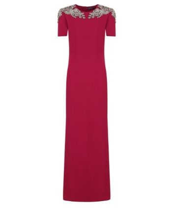 Crew Neck Maxi Plain Long Short Sleeves With Jewels Dresses