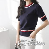 Rib U-Neck Plain Medium Short Sleeves Office Style Sweaters