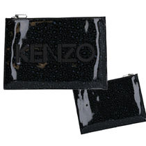 KENZO Leopard Patterns Street Style PVC Clothing Clutches