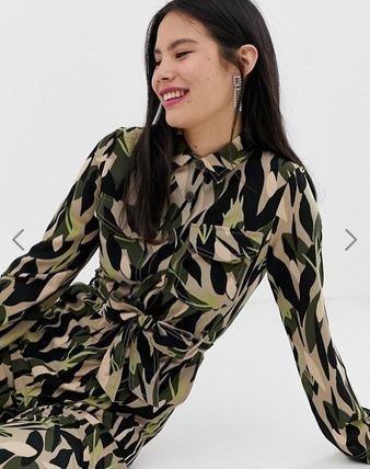 Dungarees Camouflage Casual Style Street Style Long Sleeves