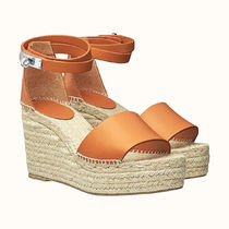 HERMES Casual Style Blended Fabrics Leather Heeled Sandals