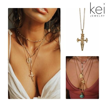 Casual Style Unisex Rosary Chain 14K Gold