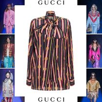 GUCCI Stripes Silk Long Sleeves Elegant Style Shirts & Blouses