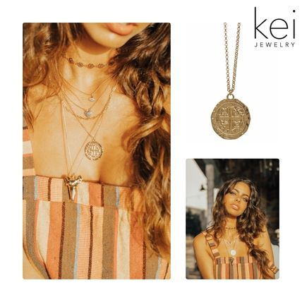 Casual Style Unisex Coin Chain 14K Gold Necklaces & Pendants