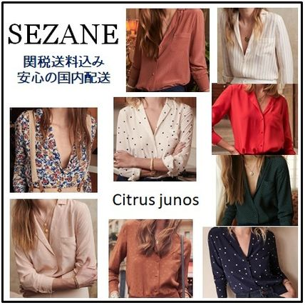 Dots Casual Style Silk Long Sleeves Shirts & Blouses