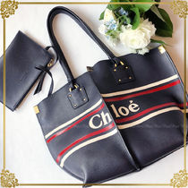Chloe Stripes Casual Style Calfskin Totes