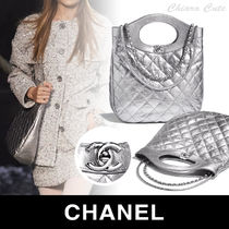 CHANEL Casual Style Calfskin Blended Fabrics Plain Party Bags