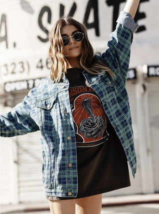 Other Check Patterns Casual Style Street Style Jackets