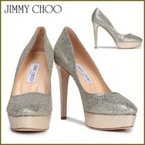 Jimmy Choo Platform Plain Toe Plain Leather Elegant Style