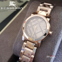Burberry Round Party Style Quartz Watches Stainless Analog Watches