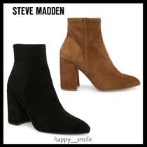 Steve Madden Suede Elegant Style Chunky Heels Ankle & Booties Boots