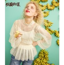 ELF SACK Dots Casual Style Medium Lace Puff Sleeves Shirts & Blouses
