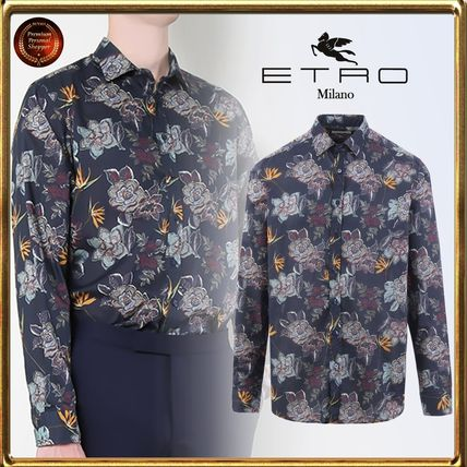 Flower Patterns Long Sleeves Cotton Shirts