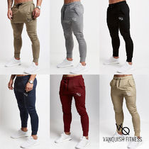 Tapered Pants Street Style Plain Khaki Tapered Pants
