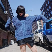 Cable Knit Casual Style Street Style Plain Cotton Medium