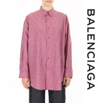 BALENCIAGA Other Check Patterns Casual Style Long Sleeves Cotton Medium