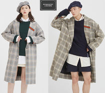 ROMANTIC CROWN Other Check Patterns Unisex Long Oversized Coats