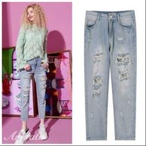 ELF SACK Denim Street Style Plain Long With Jewels Short Length Jeans