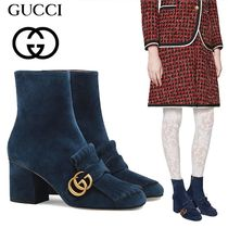 GUCCI Suede Plain Block Heels Ankle & Booties Boots