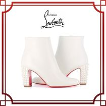 Christian Louboutin Studded Plain Leather Block Heels Elegant Style