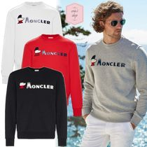 MONCLER Crew Neck Pullovers Long Sleeves Plain Cotton Sweatshirts
