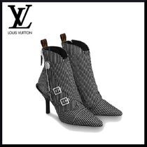 Louis Vuitton MONOGRAM Stripes Pin Heels Elegant Style Ankle & Booties Boots