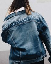 BALENCIAGA Casual Style Denim Plain Oversized Jackets