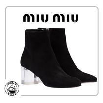 MiuMiu Suede Plain Chunky Heels Ankle & Booties Boots