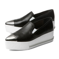 MiuMiu Rubber Sole Plain Leather Slip-On Shoes