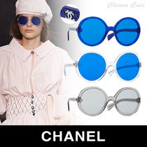 CHANEL Blended Fabrics Round Sunglasses