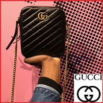GUCCI GG Marmont Casual Style Chain Shoulder Bags