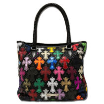 CHROME HEARTS CEMETERY CROSS Street Style Totes