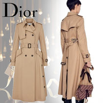 Christian Dior Stand Collar Coats Blended Fabrics Street Style Bi-color