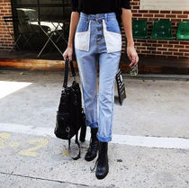 Denim Blended Fabrics Street Style Plain Long Jeans