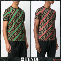 FENDI FOREVER Crew Neck Monogram Street Style Cotton Short Sleeves
