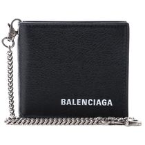 BALENCIAGA Chain Plain Leather Folding Wallets