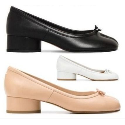 Plain Leather Block Heels Block Heel Pumps & Mules