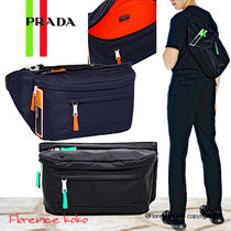 PRADA Unisex Nylon Bi-color Plain Hip Packs