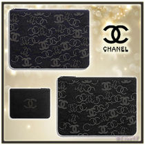 CHANEL Unisex Studded Elegant Style Clutches