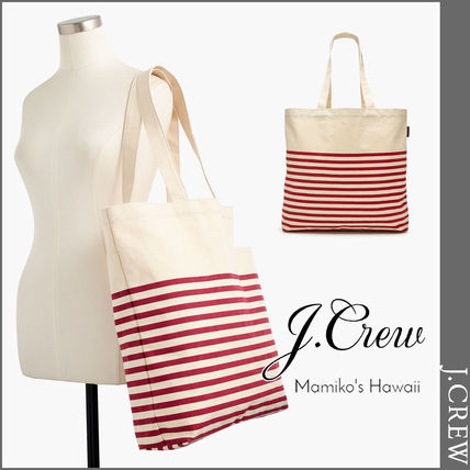 Stripes Casual Style Unisex Canvas A4 Totes