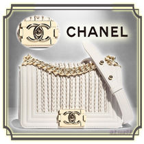 CHANEL BOY CHANEL Calfskin Chain Plain Elegant Style Shoulder Bags