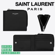 Saint Laurent Unisex Calfskin Street Style Folding Wallets