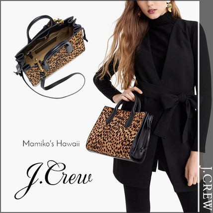 Leopard Patterns Casual Style 2WAY Leather Shoulder Bags