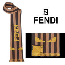 FENDI BAG BUGS Stripes Unisex Wool Street Style Fringes Scarves