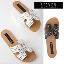 Steve Madden Casual Style Plain Leather Slippers Sandals