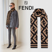 FENDI Monogram Unisex Wool Heavy Scarves & Shawls