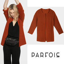 PARFOIS Long Sleeves Plain Medium Office Style Cardigans